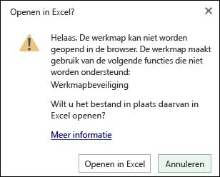 Dialoogvenster wanneer u een werkmap met wachtwoordbeveiliging opent in Excel voor het web
