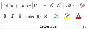 Opties voor tekstopmaak in de groep Lettertype