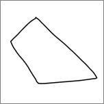 Geeft een inkttekening van een onregelmatige vierhoek weer.