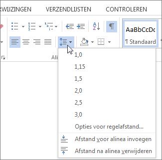 Schermafbeelding van het tabblad Start in Word, met het menu Regel- en alinea-afstand.