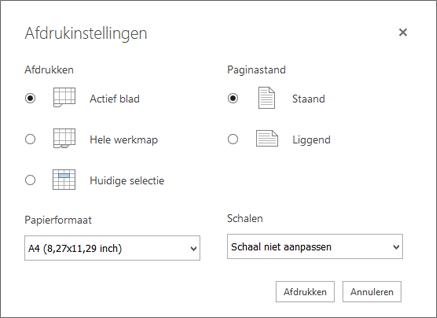Opties voor afdrukinstellingen na klikken op bestand > afdruk