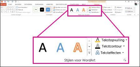 Opdrachten voor WordArt-stijlen op het lint