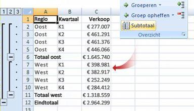 Met de opdracht Subtotaal worden gegevens gegroepeerd in een overzicht