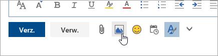 Schermafbeelding van de knop Afbeeldingen inline invoegen