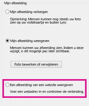 Schermafbeelding van het gedeelte van het Lync-optievenster voor Mijn foto met de optie voor het selecteren van een foto van een website gemarkeerd