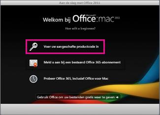 Activeringsscherm van Office voor Mac