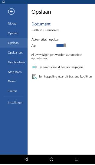 Schermafbeelding van de optie automatisch opslaan op een Android-telefoon