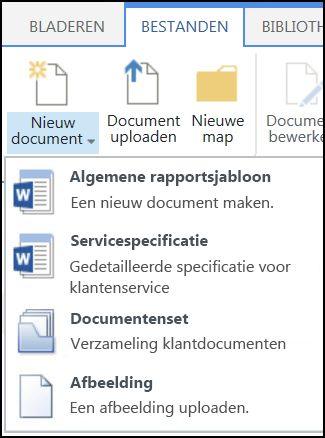 Menu Nieuw Document met aangepaste inhoudstypen in een SharePoint