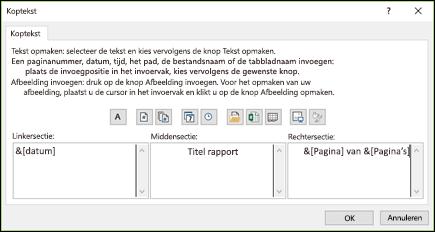 Dialoogvenster Pagina-instelling voor aangepaste koptekst