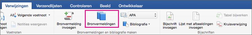 Op het tabblad Verwijzingen is Bronvermeldingen gemarkeerd.