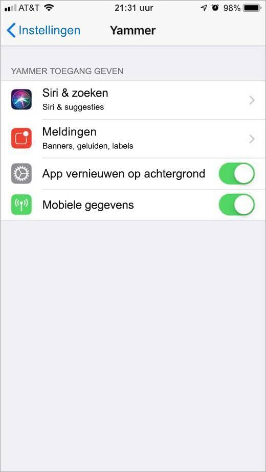 menu instellingen van iOS voor Yammer