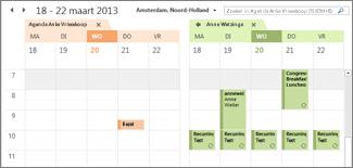 Geïmporteerde Google-agenda naast Outlook-agenda
