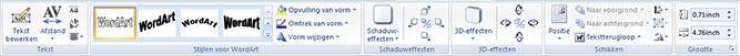 Het tabblad Hulpmiddelen voor WordArt in Publisher 2010