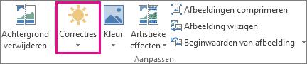 De knop Correcties op het tabblad Opmaak van Hulpmiddelen voor afbeeldingen