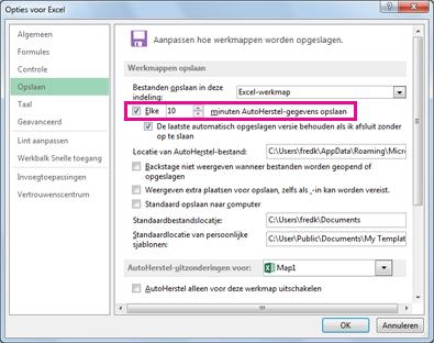 optie AutoHerstel op het tabblad Opslaan van het dialoogvenster Opties voor Excel