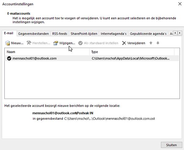 Instellingen voor e-mailaccounts wijzigen