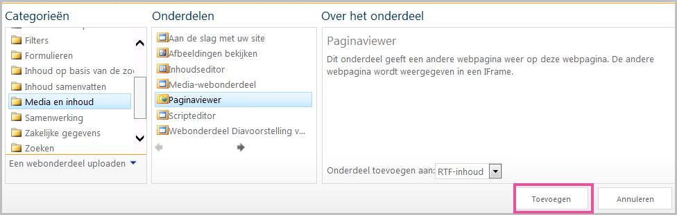 Webonderdeel toevoegen