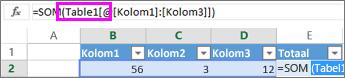 Tabelnaam wordt weergegeven in formules