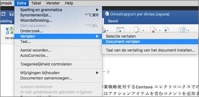 Document met het uitgevouwen menu Hulpmiddelen met de opdracht Vertalen