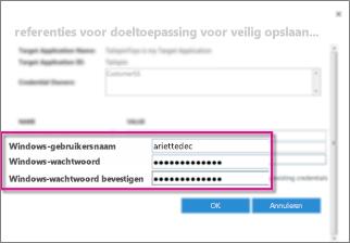 Schermafbeelding van het venster Referentievelden, dat u gebruikt wanneer u een Secure Store-doeltoepassing maakt. Het bevat de standaardwaarden, de Windows-gebruikersnaam en het Windows-wachtwoord.