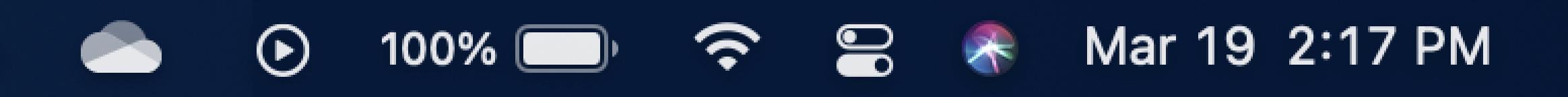 Toont de taakbalk op een Mac, met het cloudpictogram van OneDrive.