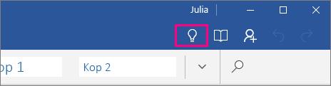 Geeft aan waar het pictogram 'Uitleg' staat op het lint in Word Mobile