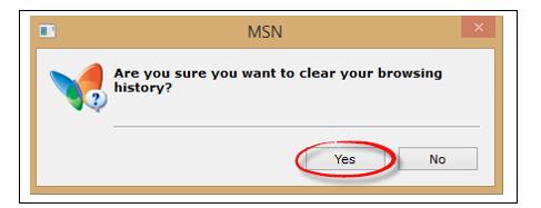 Weet u zeker dat u wilt uw browsegeschiedenis wissen? Ja/Nee