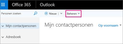 Een afbeelding van hoe de pagina Personen eruitziet in de webversie van Outlook