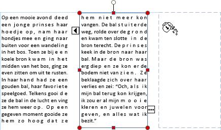 Schermafbeelding van een tekstvak met overlopende tekst naar een ander tekstvak.