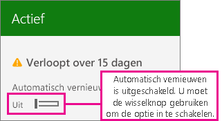 Schermafbeelding van abonnement waarop wisselknop voor automatisch verlengen wordt weergegeven