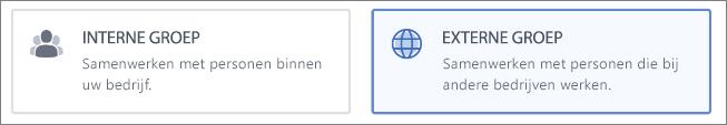 Schermafbeelding waarop wordt getoond dat u ervoor kunt kiezen om een Interne groep of Externe groep te maken