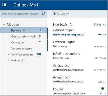 Hoofdscherm van Outlook.com of Hotmail.com