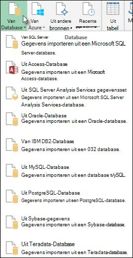 Dialoogvenster Gegevens uit database halen