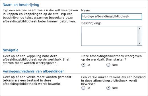 Dialoogvenster voor het toevoegen van naam, diagram, navigatie Snel starten en Versiebeheer.