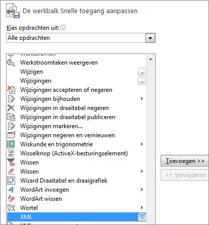 Kies XML in de lijst met opdrachten en klik vervolgens op Toevoegen.