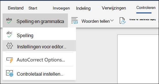 Een schermafbeelding van de optie editor-instellingen in Word online