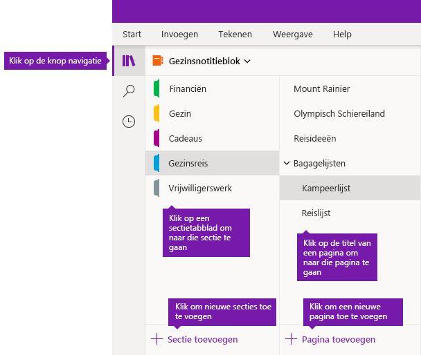 Secties en pagina's in OneNote voor Windows 10