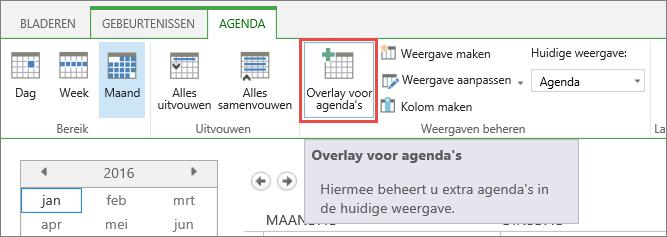 Knop Agenda-overlay op het lint