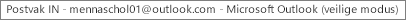 Een label boven aan het venster met de naam van de persoon die de eigenaar is van het Postvak IN en waarop staat aangegeven dat Outlook in de veilige modus wordt uitgevoerd