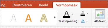 Knop alternatieve tekst voor shapes op het lint in Power Point voor Mac