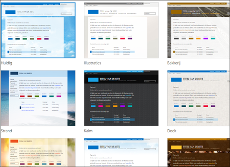 De pagina Sjabloonselectie in Office 365, met optionele sjablonen met indelingen en thema's voor de openbare site