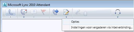 Lync Attendant-pictogram Opties