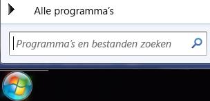 Schermafbeelding van het vak Programma's en bestanden zoeken