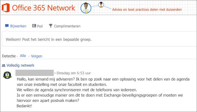 De startpagina van Office 365 Network