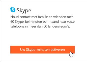 Schermafbeelding waarin wordt aangegeven waar Skype-minuten worden geactiveerd.