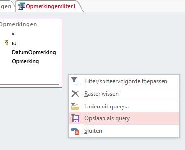 Contextmenu in Geavanceerde filter-/sorteeropties