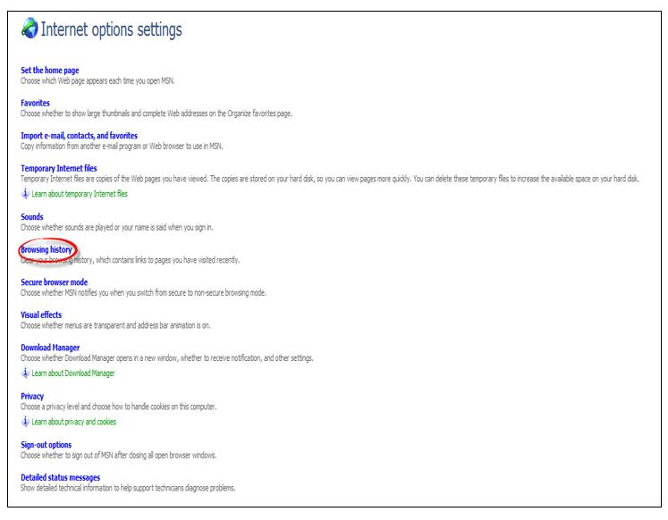 Instellingen voor Internet-opties