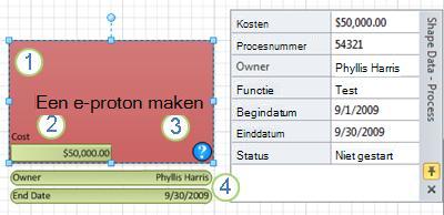 Een processhape met een gegevensafbeelding