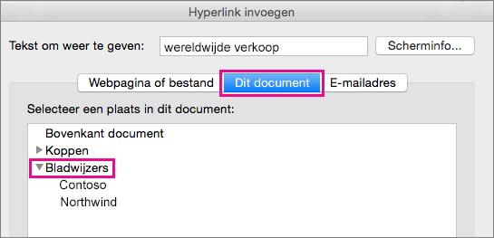Het dialoogvenster Hyperlink invoegen met de tab Dit document en Bladwijzers gemarkeerd.