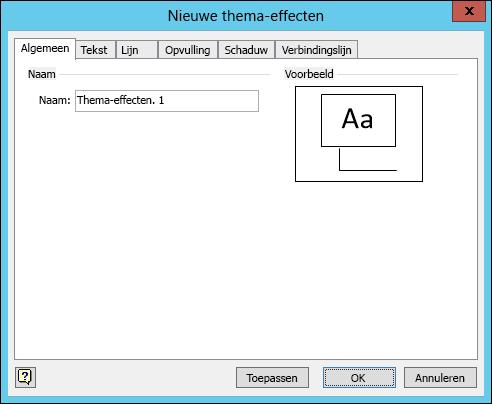 Schermafbeelding met het dialoogvenster Nieuwe thema-effecten maken